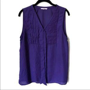 41 Hawthorne Purple sleeveless Tank top tie front